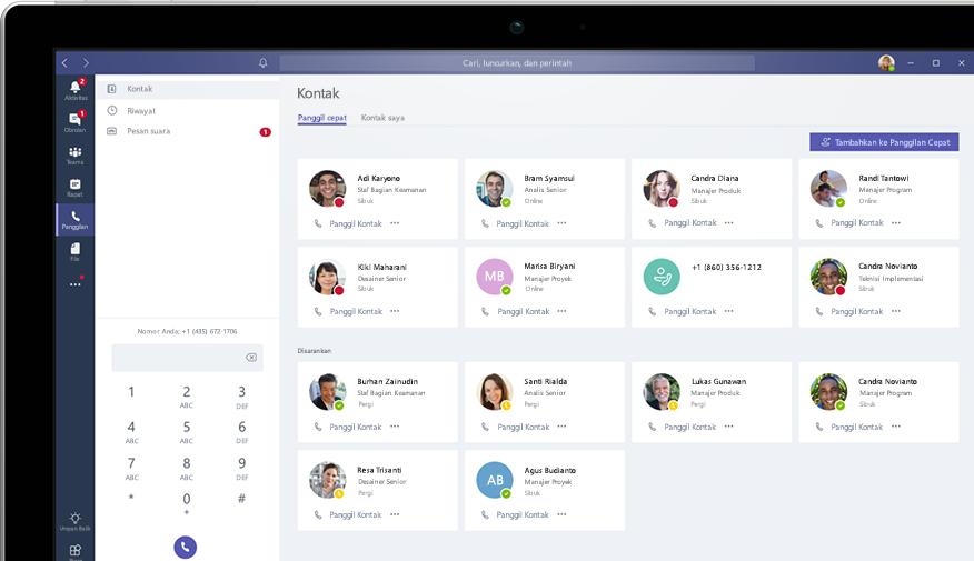 Panggilan di Microsoft Teams diperlihatkan pada komputer desktop