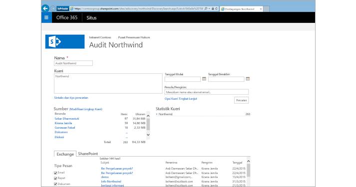 Tampilan jelas daftar hasil pratinjau Exchange Online Archiving.