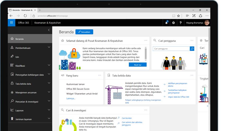 PC tablet memperlihatkan laman pusat keamanan dan kepatuhan Office 365