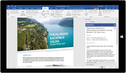 Layar tablet menampilkan Peneliti Word sedang digunakan dalam dokumen tentang kiat perjalanan backpacking ke Eropa, pelajari tentang membuat dokumen dengan alat Office bawaan