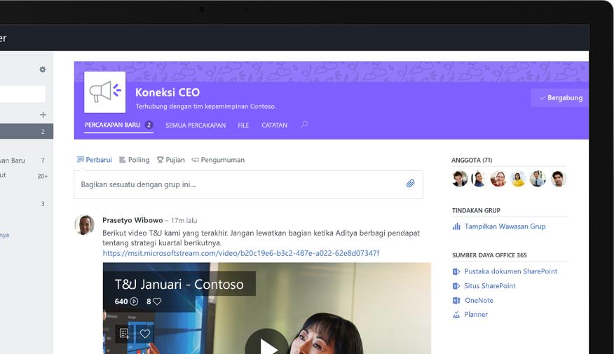 Yammer di PC tablet memperlihatkan pejabat eksekutif yang berbagi video T&J tingkat perusahaan