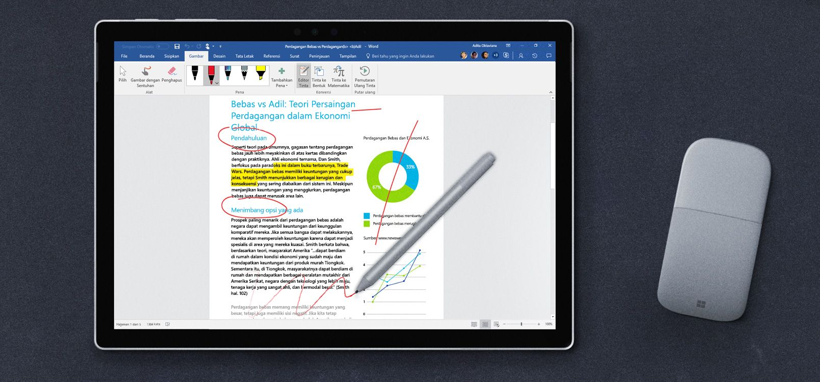 Layar tablet menampilkan Editor Tinta