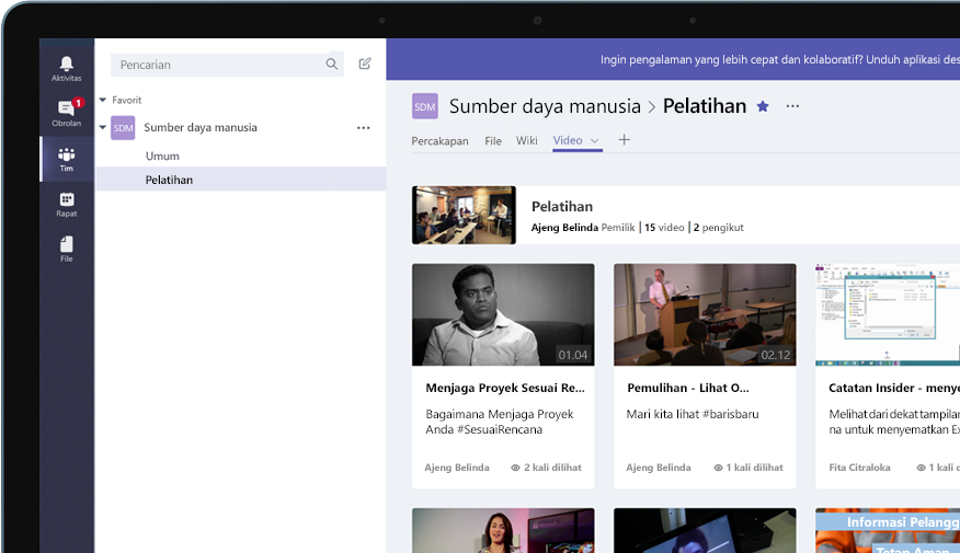Perangkat dengan grup Teams bernama Sumber Daya Manusia, dengan menu video pelatihan