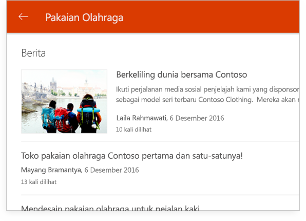 percakapan grup SharePoint di PC tablet