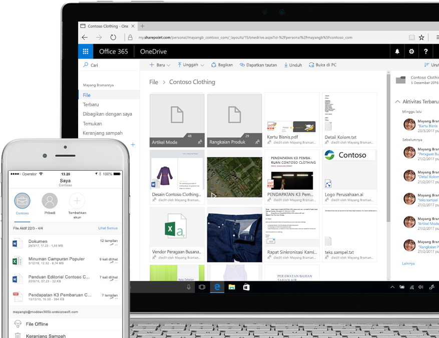 file ditampilkan di SharePoint pada smartphone dan komputer laptop