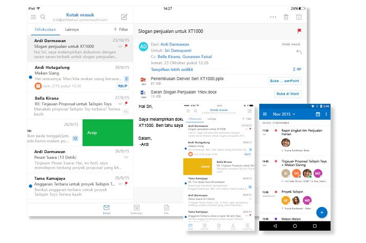 Sebuah layar tablet dan dua layar telepon menampilkan kotak masuk email dan kalender Outlook.