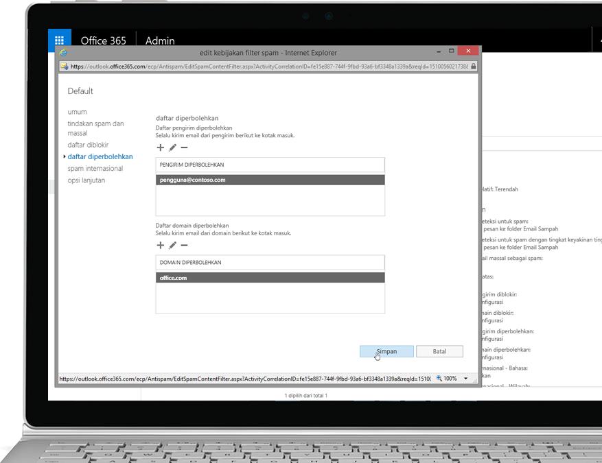 Kebijakan filter Proteksi Exchange Online Office 365 di PC laptop Windows