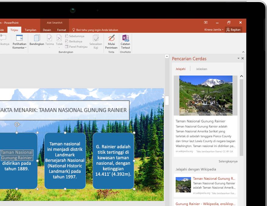 PC tablet memperlihatkan Pencarian Cerdas di PowerPoint
