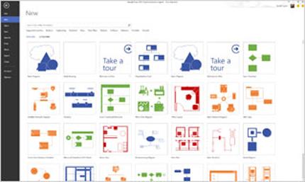 Cuplikan layar templat bawaan baru di Visio Standard 2013.