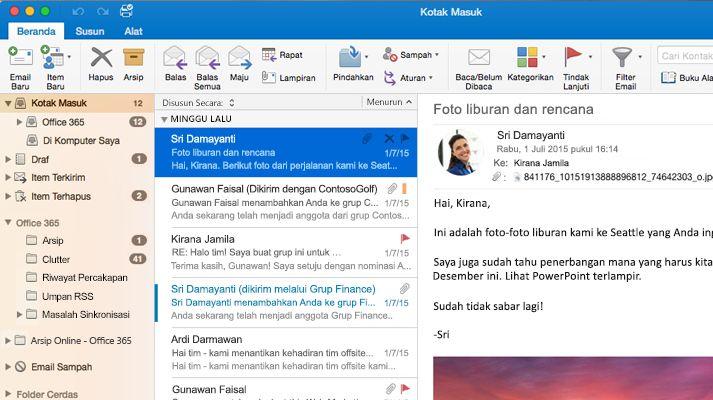 Screenshot kotak masuk Microsoft Outlook 2016 yang berisi daftar pesan dan pratinjau.