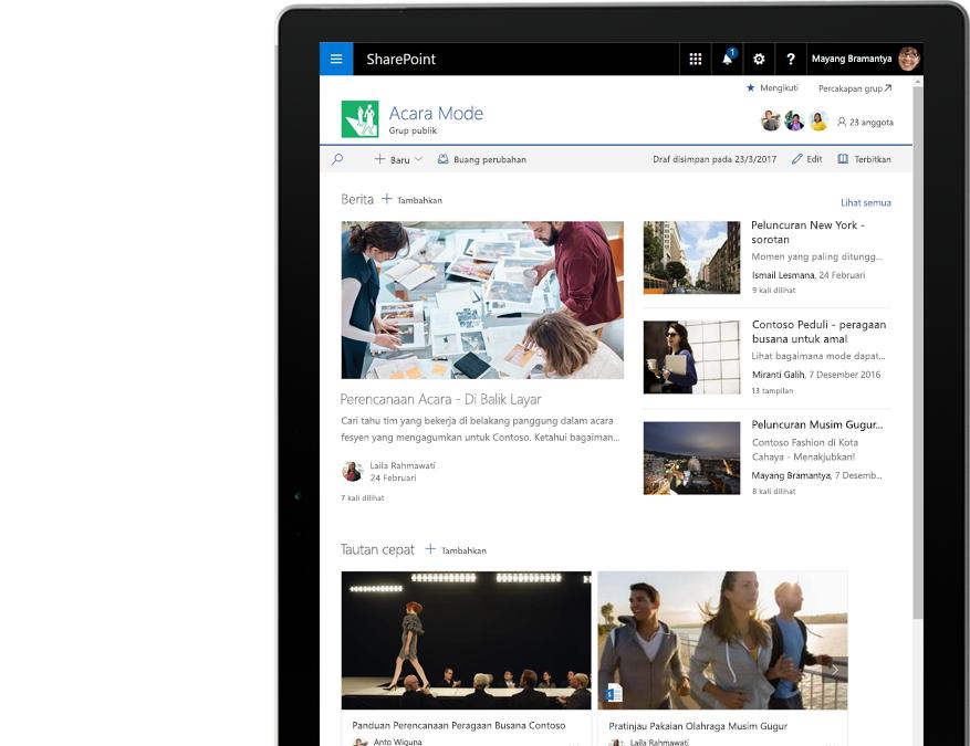PC tablet menampilkan berita dan aktivitas SharePoint
