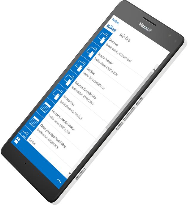 Perangkat seluler menampilkan SharePoint yang sedang digunakan untuk mengakses informasi, pelajari tentang SharePoint Server 2016 di Microsoft TechNet