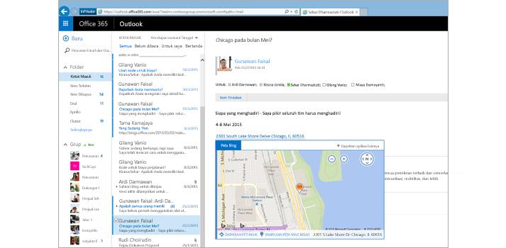 Tampilan jelas kotak masuk pengguna dalam Outlook di web, didukung oleh Exchange.