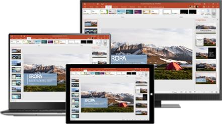 Monitor desktop, laptop, dan tablet menampilkan presentasi tentang kiat perjalanan backpacking ke Eropa, pelajari tentang produktivitas portabel dengan aplikasi seluler dan desktop Office