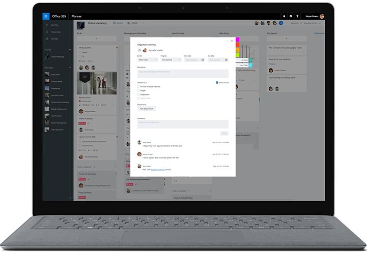 Monitor desktop menampilkan Microsoft Planner yang sedang digunakan untuk melampirkan file ke tugas.