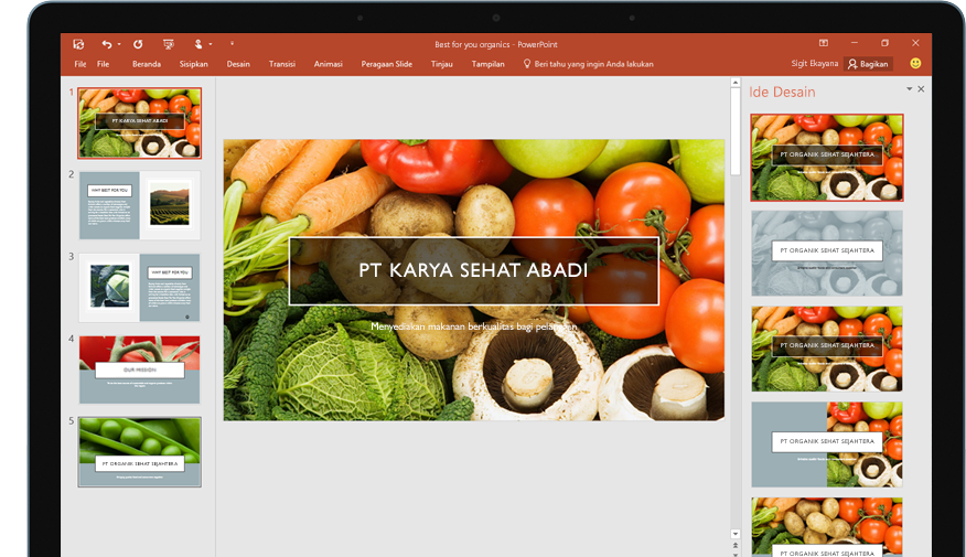 Tablet memperlihatkan fitur Designer dalam slide presentasi PowerPoint