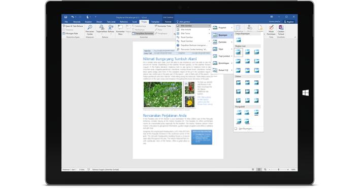 Surface memperlihatkan fitur baru Beri Tahu Saya dalam dokumen Word.