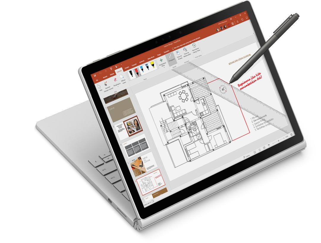 penggaris dan tinta digital di gambar arsitektural di tablet Surface