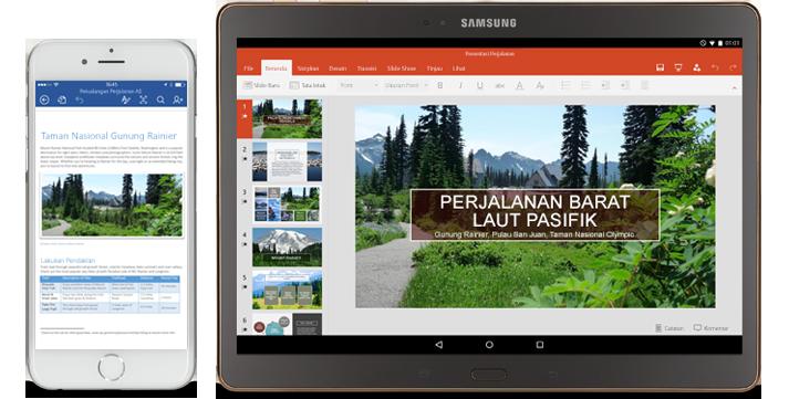 Telepon seluler menampilkan informasi tentang dan tablet menampilkan presentasi PowerPoint tentang Pacific Northwest.