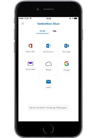 Smartphone menampilkan layar Tambahkan Akun di Outlook seluler