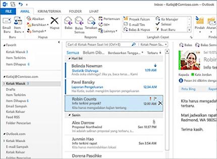 Screenshot kotak masuk Microsoft Outlook 2013 yang berisi daftar pesan dan pratinjau.