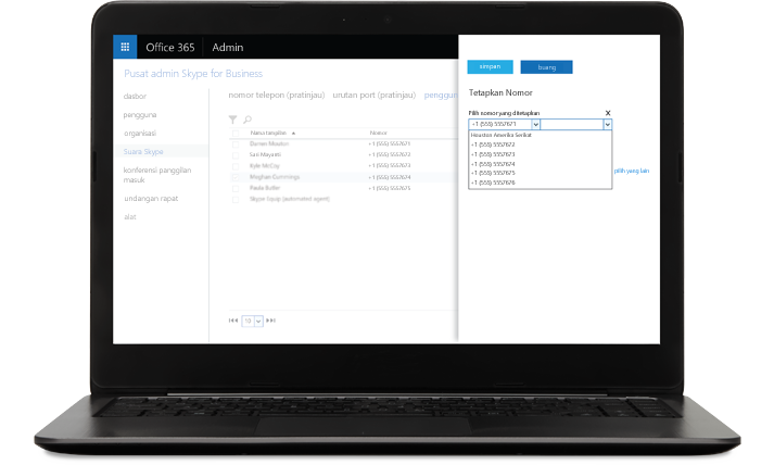 Laptop dengan layar penetapan nomor Skype for Business yang terbuka.