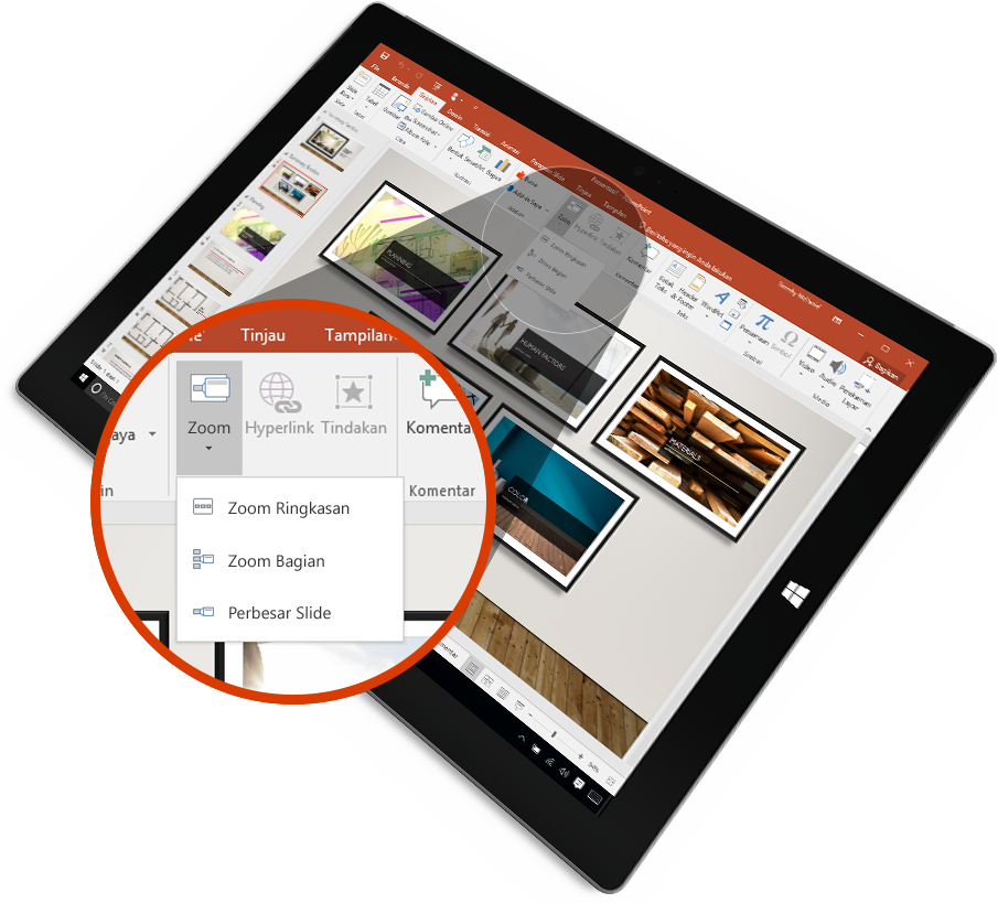 Tablet menampilkan slide PowerPoint dalam mode Presentasi dengan mark-up.