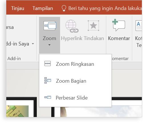 Tablet memperlihatkan slide PowerPoint dalam mode Zoom