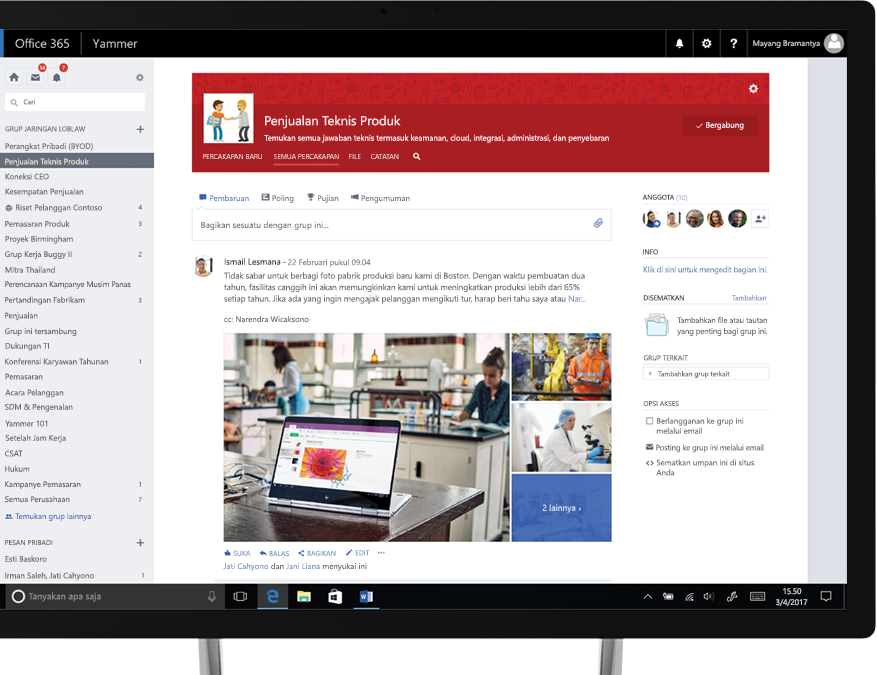 Yammer di PC tablet dengan foto yang sedang dibagikan dan grup penjualan teknis lintas fungsi