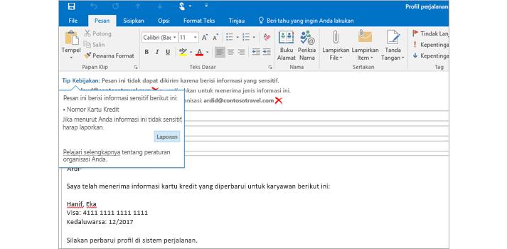 Tips Kebijakan dalam email, untuk membantu mencegah pengiriman informasi sensitif.