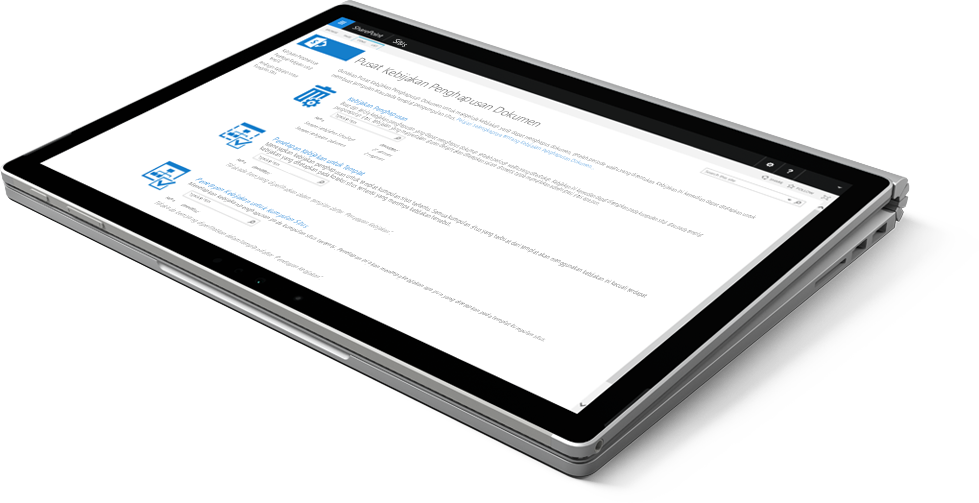 Laptop menampilkan Pusat Kebijakan Penghapusan Dokumen di SharePoint