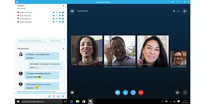 Gambar cuplikan layar beranda Skype for Business dengan gambar mini dari kontak dan opsi koneksi.