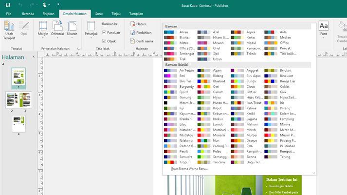 Tangkapan layar publikasi Publisher dengan alat gambar diperlihatkan pada pita.