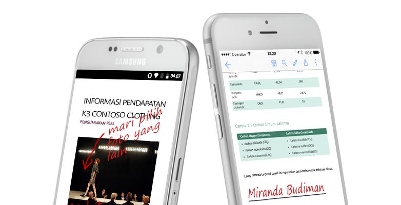 dua smartphone memperlihatkan dokumen dan catatan tulisan tangan tentangnya