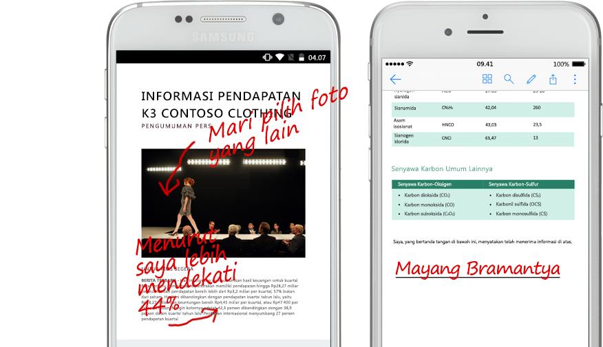 dua smartphone memperlihatkan dokumen dan catatan dengan tulisan tangan tentang dokumen tersebut