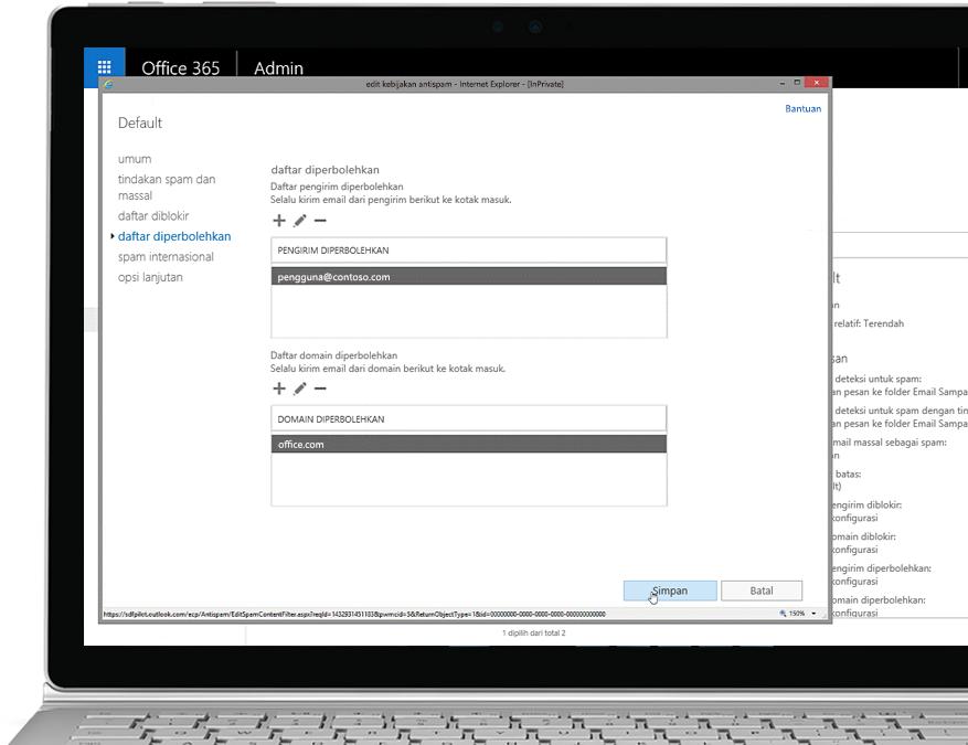 Tablet memperlihatkan pengeditan kebijakan anti-spam dalam konsol Office 365 Admin dengan pengirim dan domain yang diperbolehkan