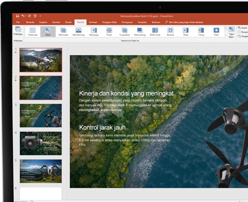 Stylus beserta tablet yang menampilkan presentasi di Microsoft PowerPoint