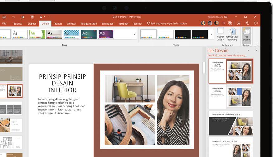 Presentasi PowerPoint ditampilkan di perangkat