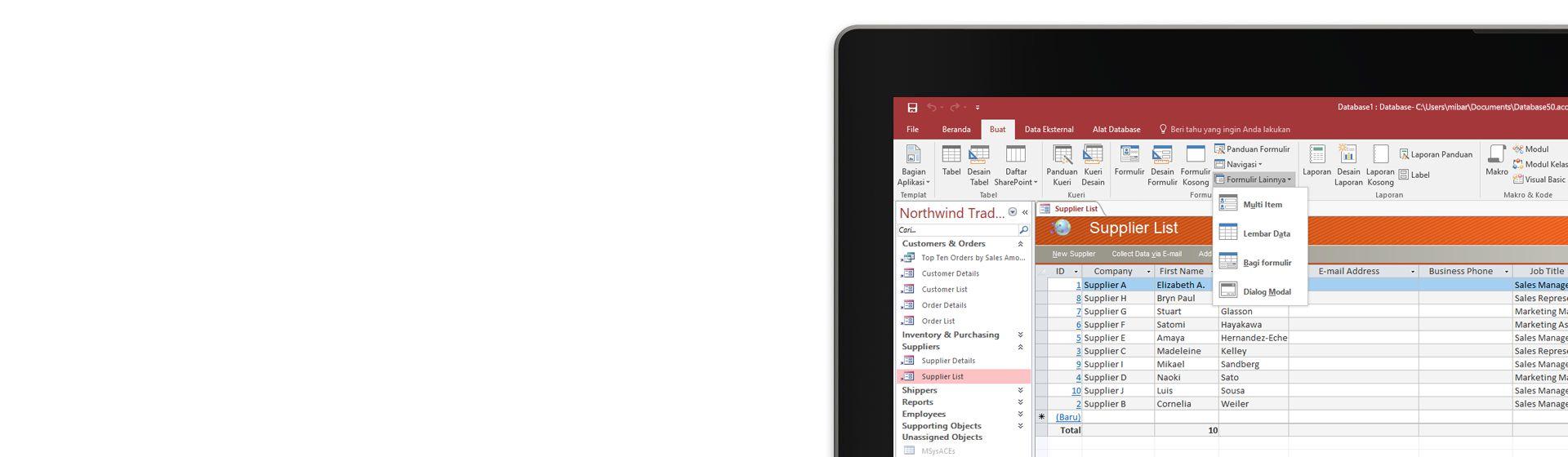 Sudut layar komputer menampilkan daftar pemasok dalam database di Microsoft Access.