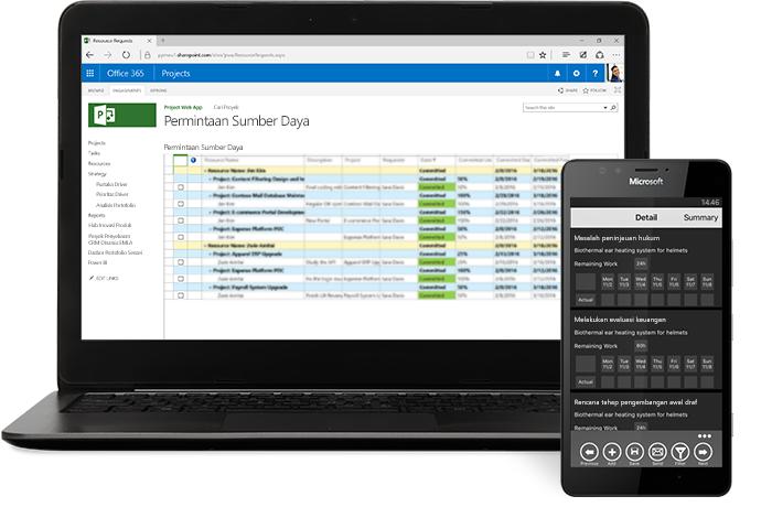 Laptop menampilkan jendela proyek di Microsoft Project, dan telepon menampilkan jadwal proyek.
