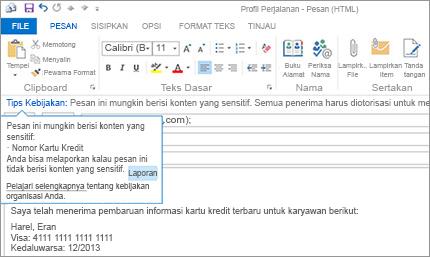 Close-up Tips Kebijakan dalam email untuk mencegah pengguna mengirim informasi sensitif.