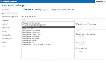 Cuplikan layar halaman di pusat admin Exchange, tempat Anda mengelola peran admin.