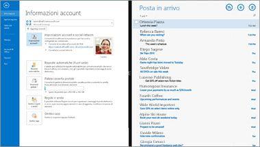 Cattura di schermata della pagina Informazioni account ed elenco messaggi in Office 365.