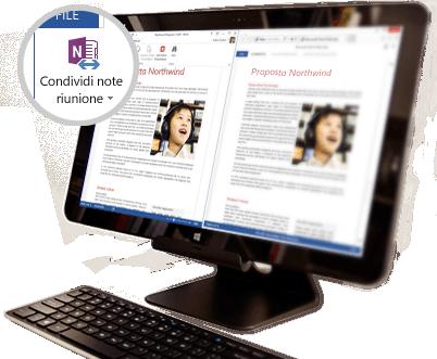 Monitor di desktop che visualizza il contenuto condiviso di una riunione.