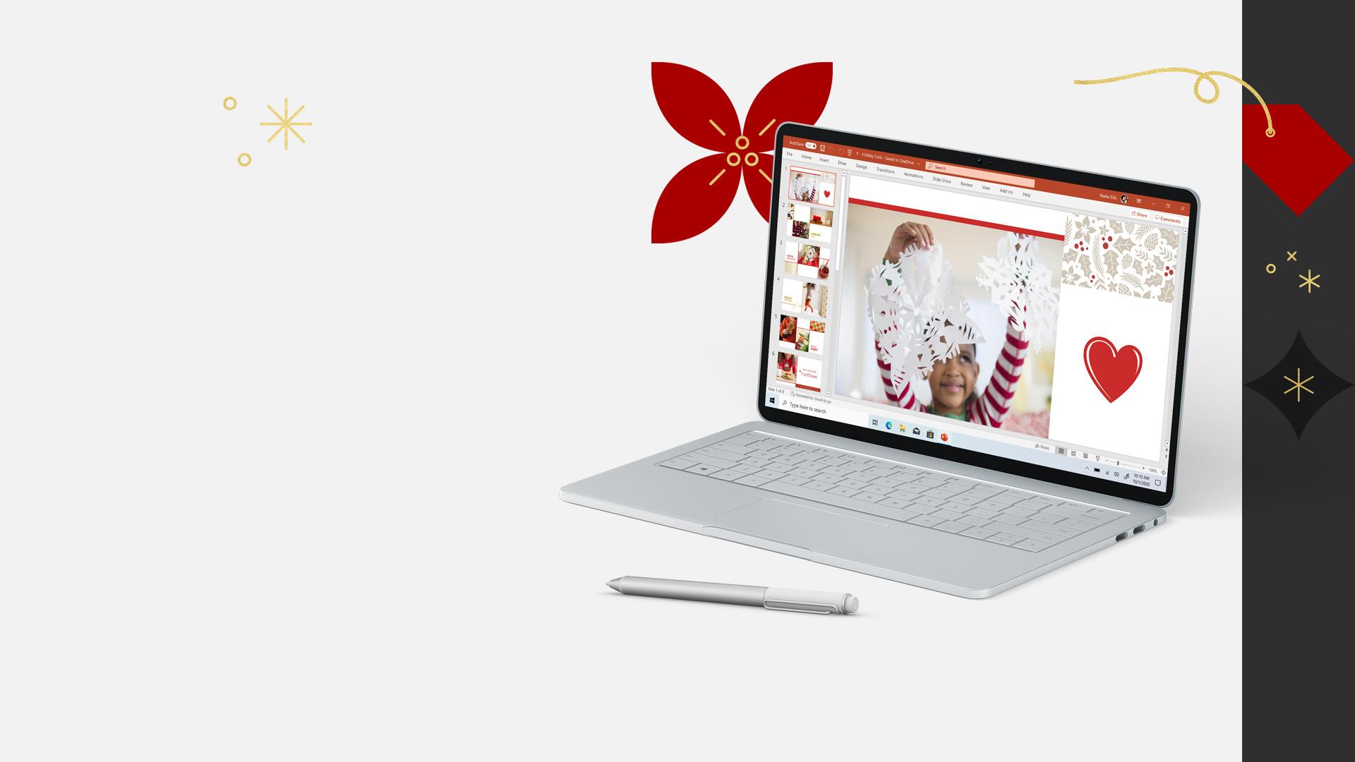 Un portatile Windows 10 aperto sul quale è visualizzato un documento PowerPoint e una penna digitale davanti al PC