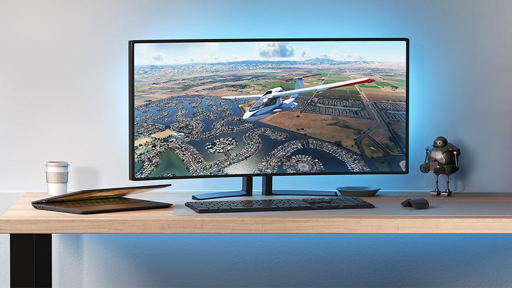 Lo schermo di un PC da gioco sul quale è visualizzato Flight Simulator
