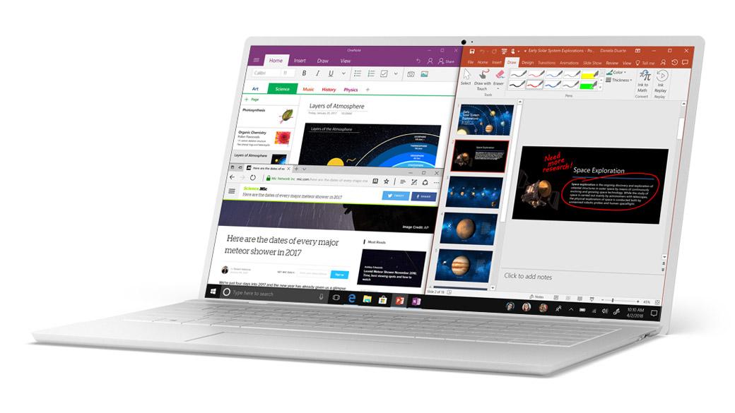 Ancoraggio di Windows 10 con Microsoft Edge, OneNote e PowerPoint