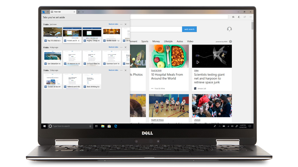 Computer Dell con diverse schede del browser Microsoft Edge