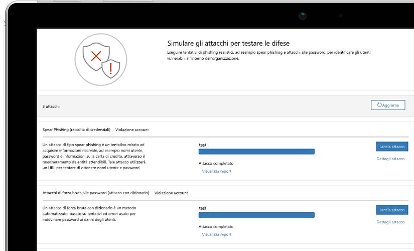 Primo piano della pagina di una simulazione di attacco su un portatile che mostra informazioni sul test in corso