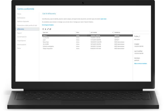 Portatile che visualizza casi di Office 365 eDiscovery nel Centro conformità